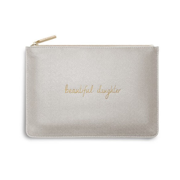 Katie Loxton Perfect Pouch Beaultiful Daughter Champagne Shimmer front