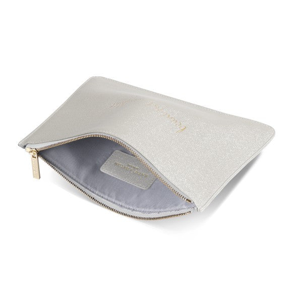 Katie Loxton Perfect Pouch Beaultiful Daughter Champagne Shimmer open