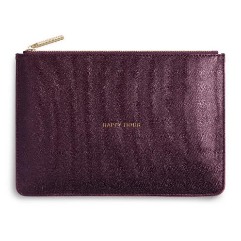 Katie Loxton Perfect Pouch Happy Hour Shiny Burgundy front