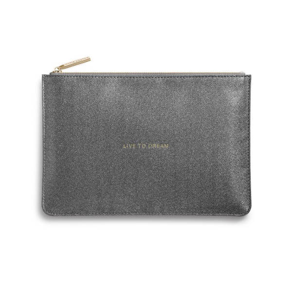 Katie Loxton Perfect Pouch Live To Dream Shiny Charcoal front