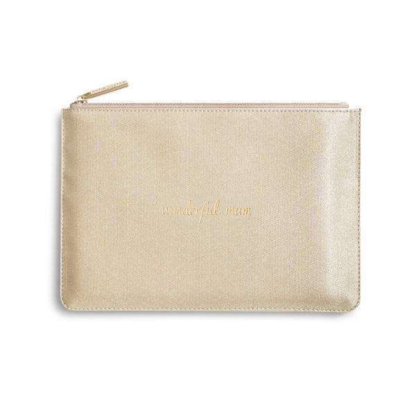 Katie Loxton Perfect Pouch Wonderful Mum Shiny Gold front