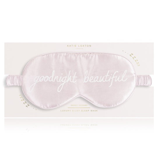 Katie Loxton Satin Eye Mask Goodnight Beautiful Pink front