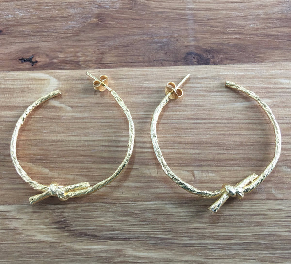 Knotted String  Yellow Gold Hoop Earrings