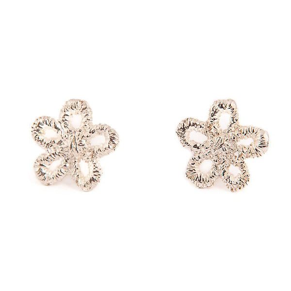 I Love A Lassie Jewellery Antique Lace Daisy Silver Stud Earrings