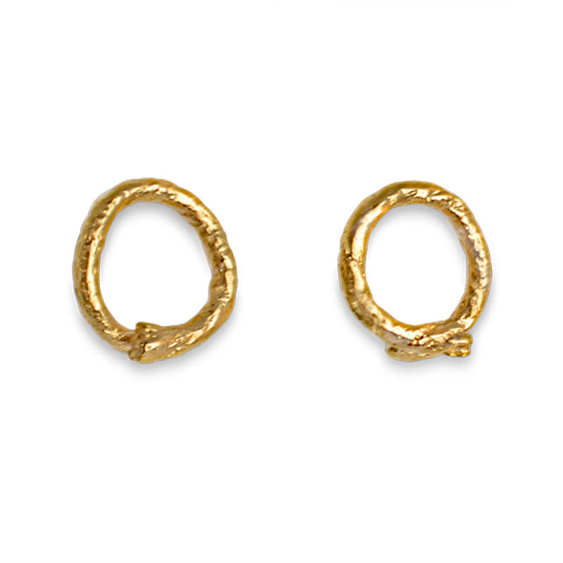 Knotted String Yellow Gold Looped String Stud Earrings