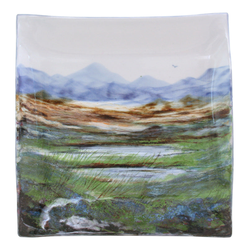Highland Stoneware Landscape Plate Square Medium