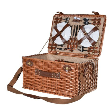Large Rattan Deluxe Picnic Basket open