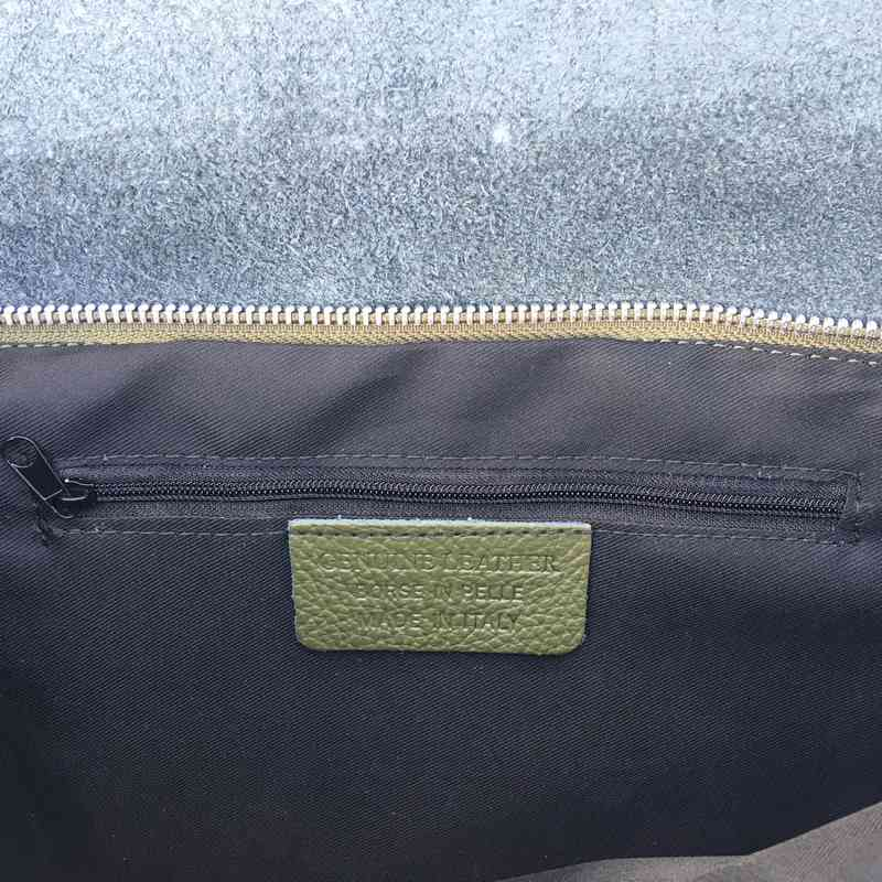 Leather Foldover Bag in Moss Green inside zip pocket