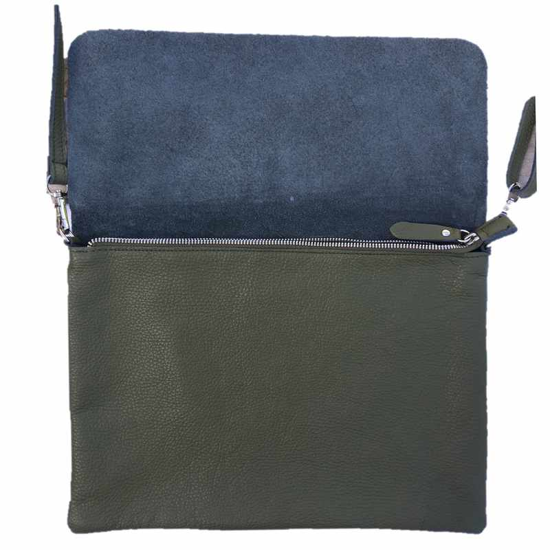 Leather Foldover Bag in Moss Green open