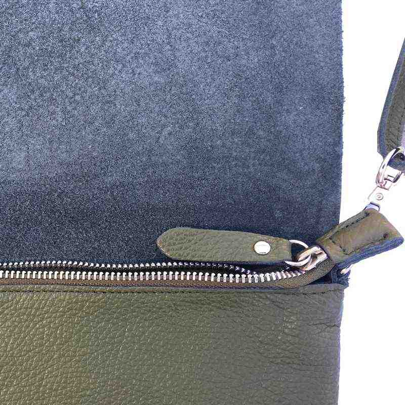 Leather Foldover Bag in Moss Green zip