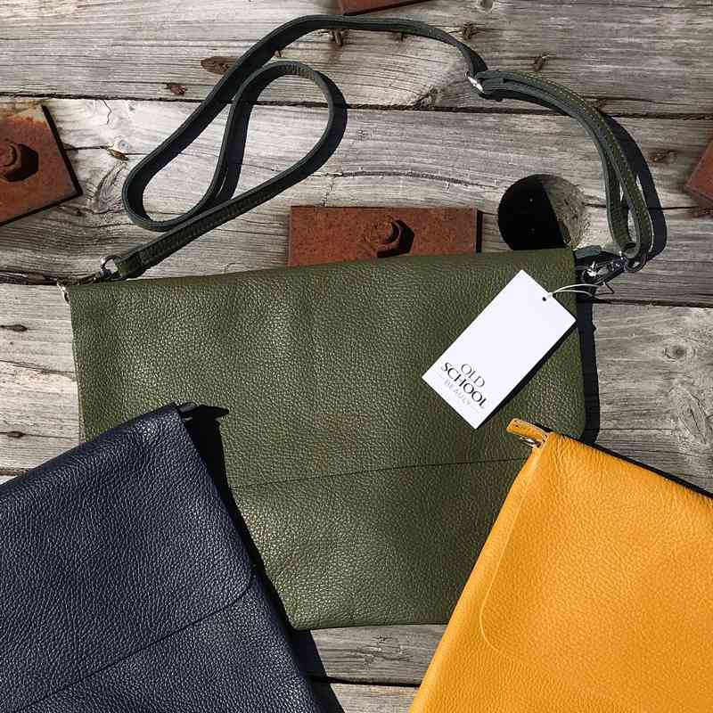 Leather Foldover Handbag in Moss with other colours