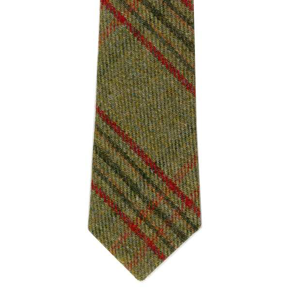 Leather Guild Gents Tie - Green Islay Tweed