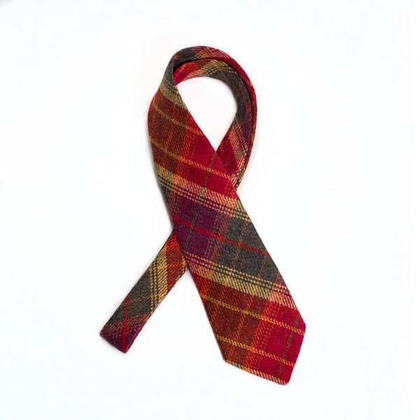 Leather Guild Gents Tie - full picture Red Islay Tweed