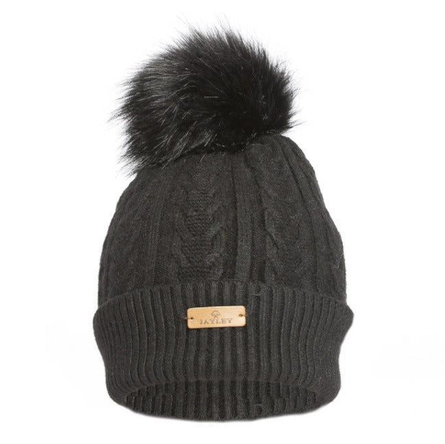 Luxury Faux Fur Black Bobble Hat FMDT19A-01
