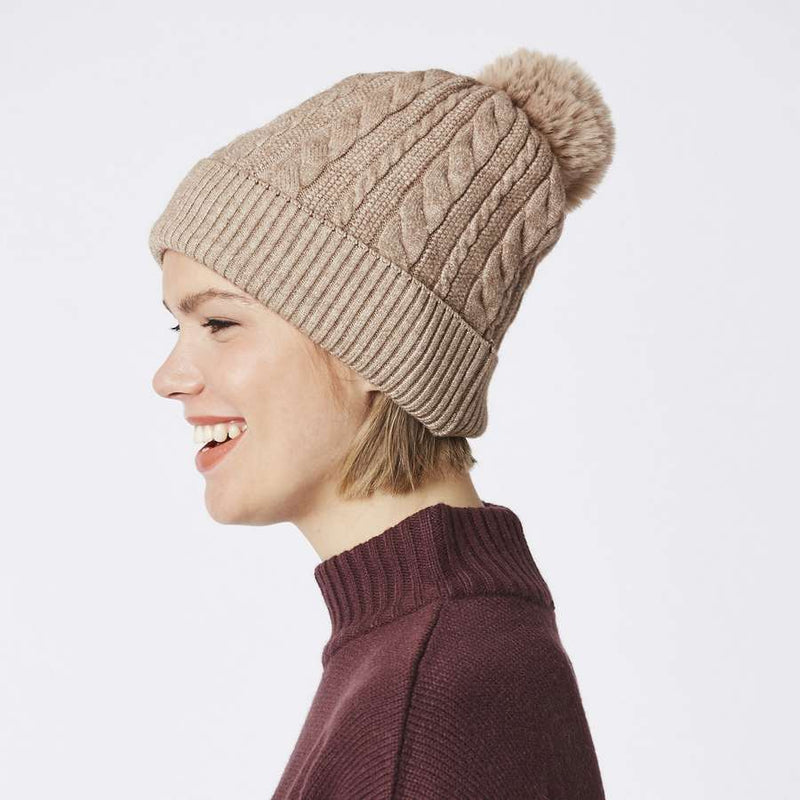 Luxury Faux Fur Pompom Hat Taupe FMDT19A-09 side