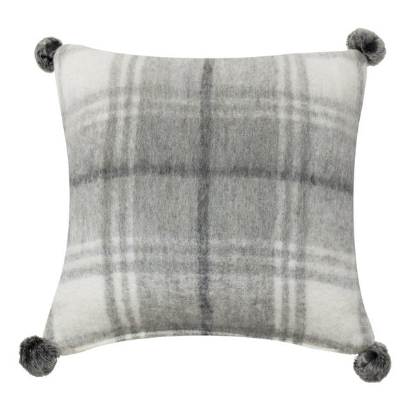 MARS & MORE CUSHION WOOL GREY SQUARE POM POMS 45X45CM  SOKSWGRP front