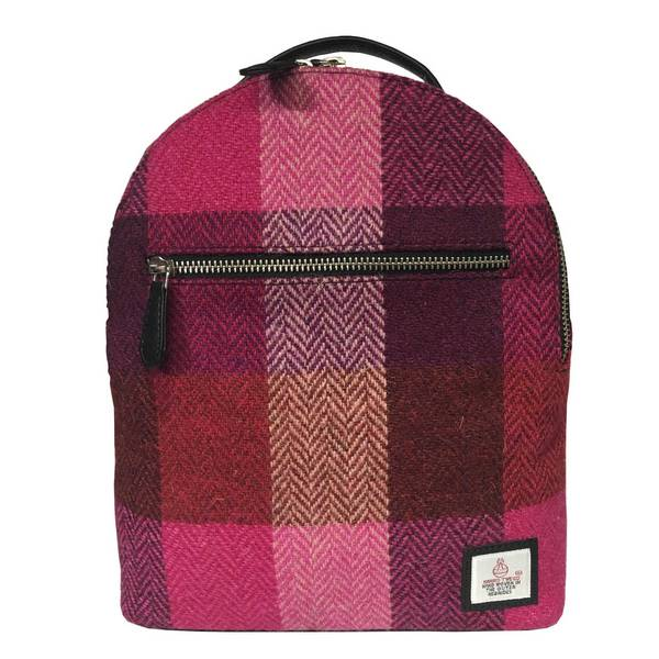 Maccessori Baby Backpack in Pink Squares Harris Tweed front