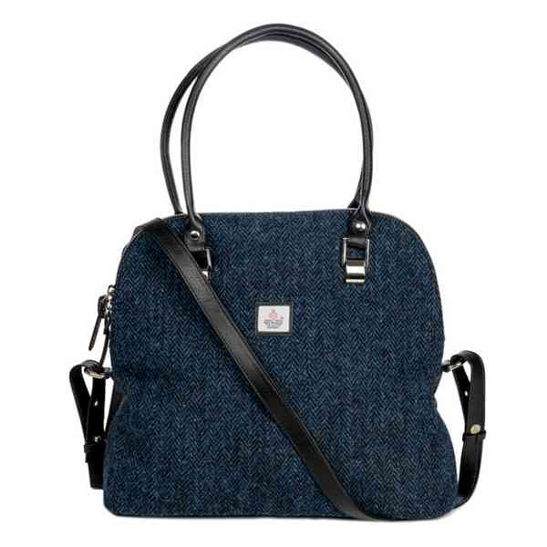 Maccessori Harris Tweed Large Bowling Bag Blue front