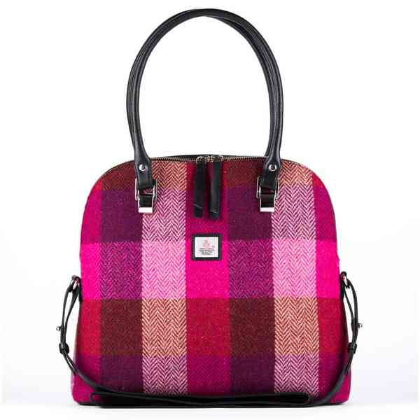 Maccessori Harris Tweed Large Bowling Bag Pink Squares front