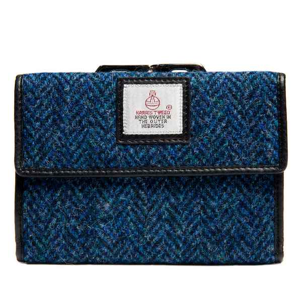 Maccessori Harris Tweed Medium Clasp Purse Blue front