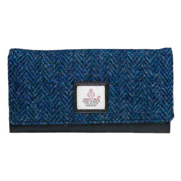 Maccessori Ladies Envelope Purse Blue Harris Tweed front