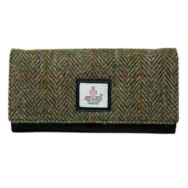 Ladies Envelope Purse in Country Green Harris Tweed front