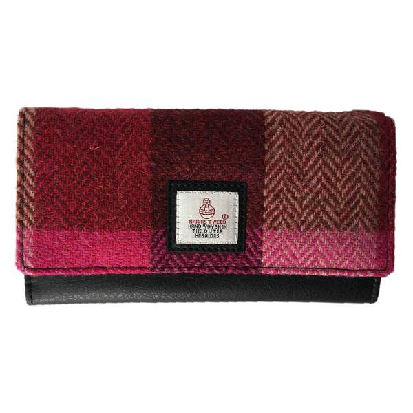 Maccessori Ladies Envelope Purse Pink Squares Tweed front