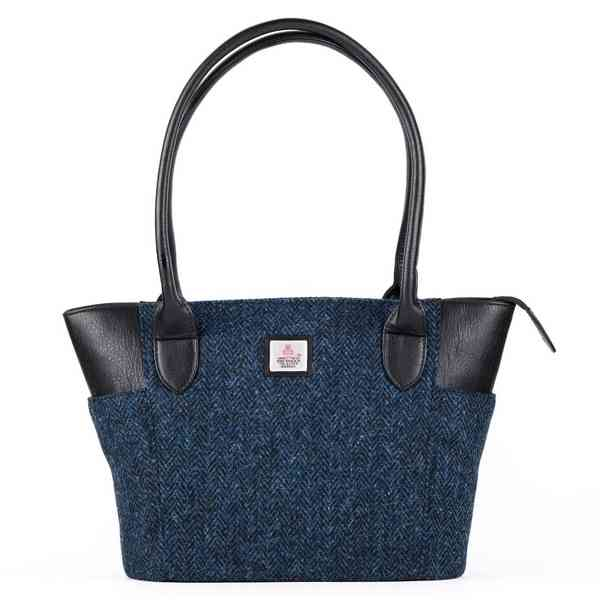Maccessori Large Tote Harris Tweed Bag Blue front