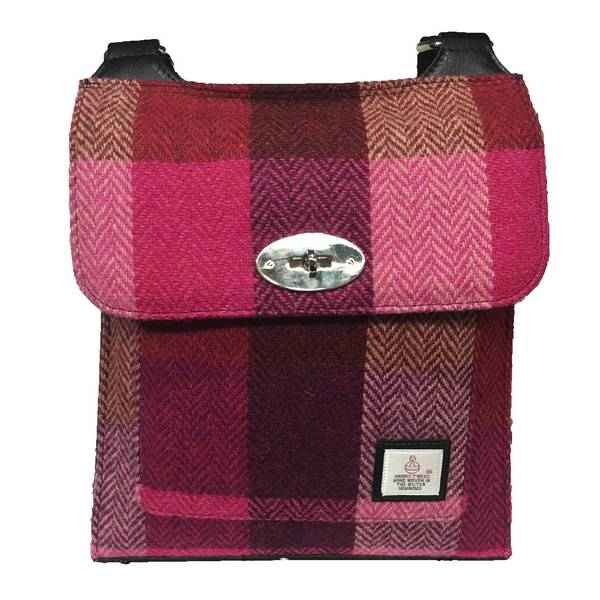 Maccessori Satchel Bag Pink Squares Harris Tweed Front