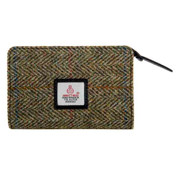 Maccessori Harris Tweed Zip Purse Country Green front