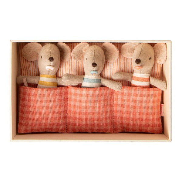 Maileg Baby Mice Triplets in Matchbox bed