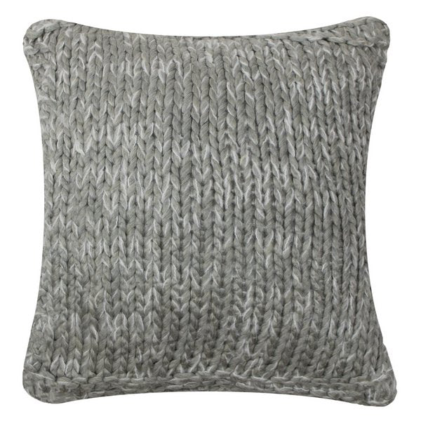 Knitted Cushion Light Grey back