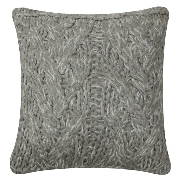 Knitted Cushion Light Grey front