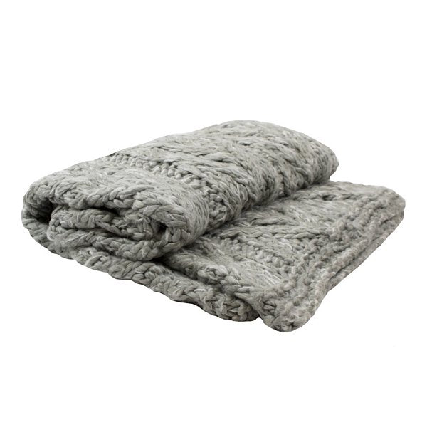 Knitted Throw in Light Grey folded