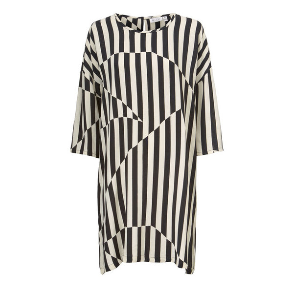Masai Clothing Nitassa Dress in Black Stripes 194555818-0189 front