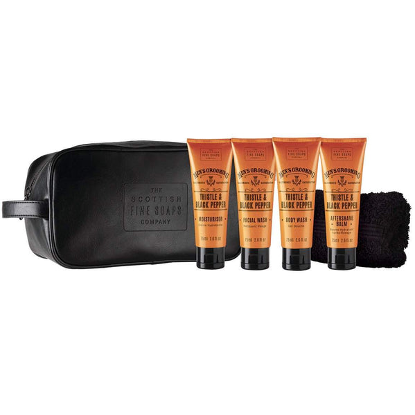 Men's Grooming Travel Wash Bag Thistle & Black Pepper