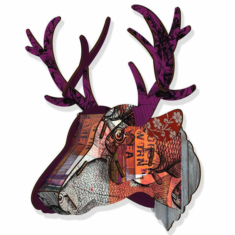 Miho Stags Head Trophy Deer Purple Branch