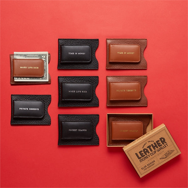 Leather Money Clip Wallet Selection on red background
