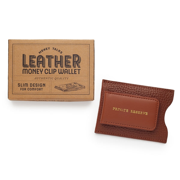 Leather Money Clip Wallet - Tan and box