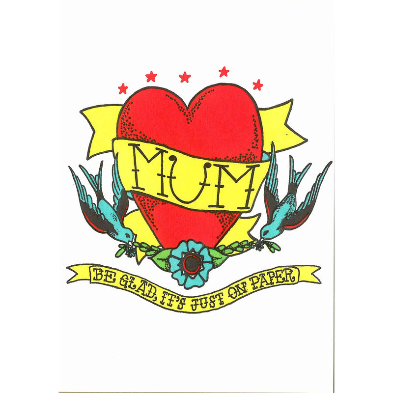 Mother's Day Card - Mum Be Glad It's Just On Paper