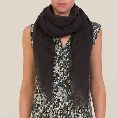 Muted Tones Gauze Scarf Charcoal MT058 on model
