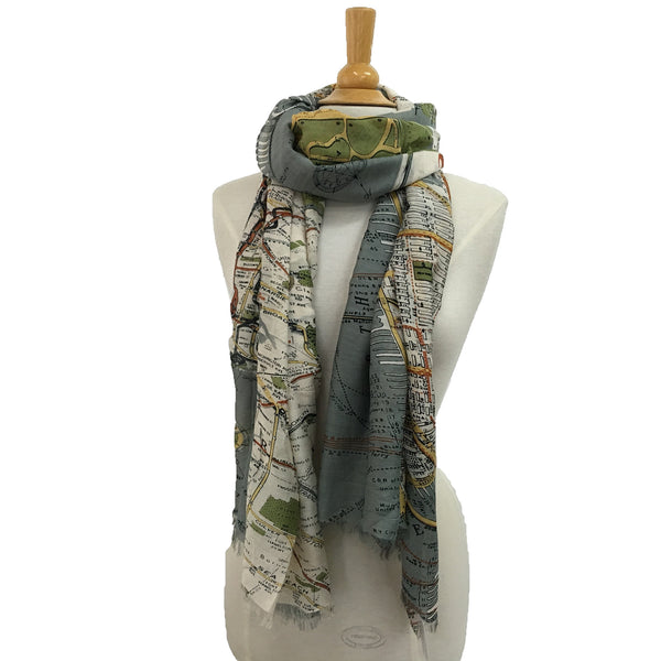 NYC Street Map Scarf - Grey
