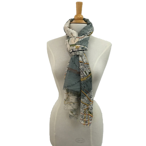 NYC Street Map Scarf - tied
