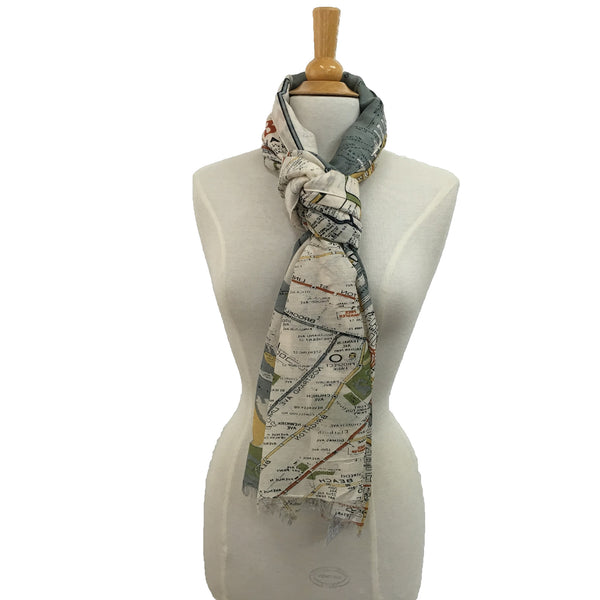 NYC Street Map Scarf - knotted