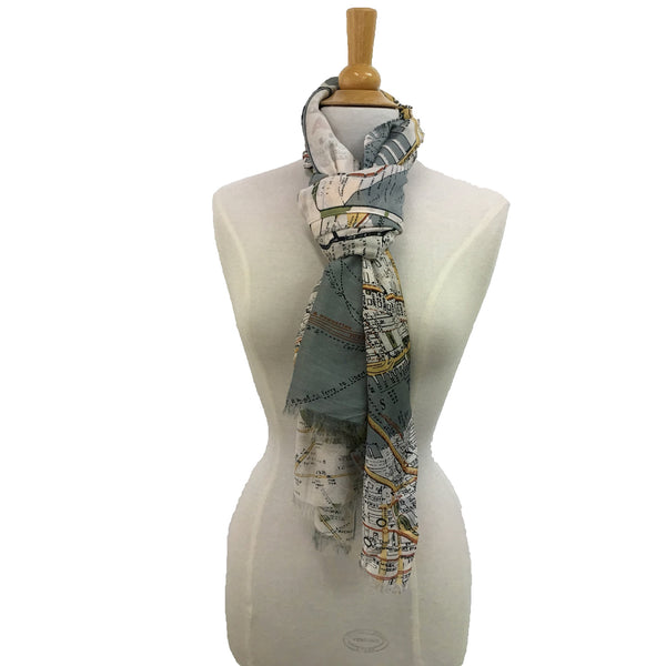 NYC Street Map Scarf - Grey tied