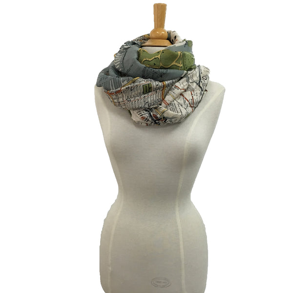 NYC Street Map Scarf - wrapped
