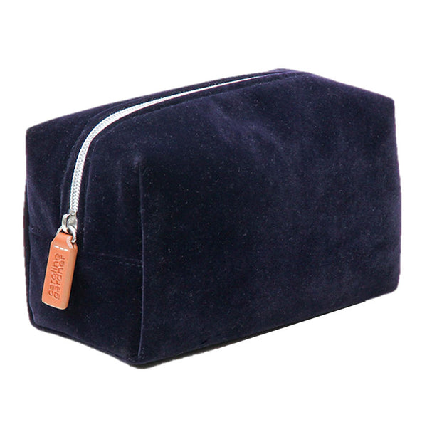 Navy Velvet Cube Cosmetics Bag