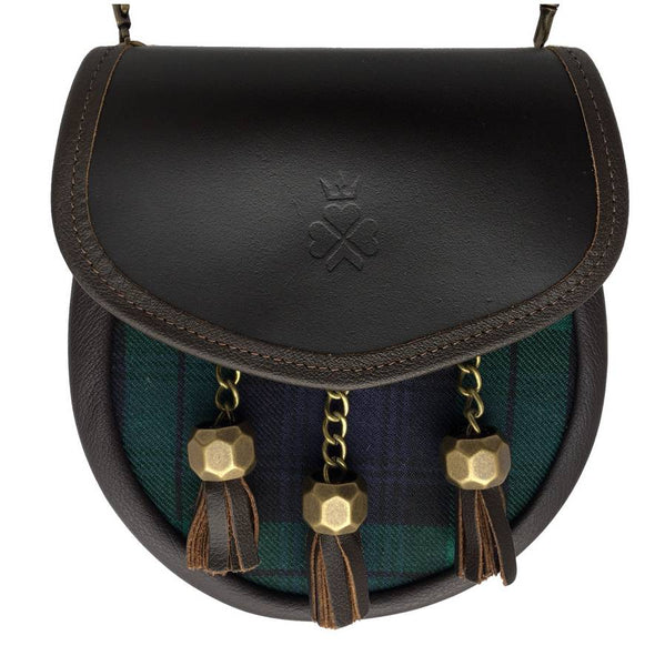 Nixey Sporran Handbag Blackwatch Tartan and Brown Leather main