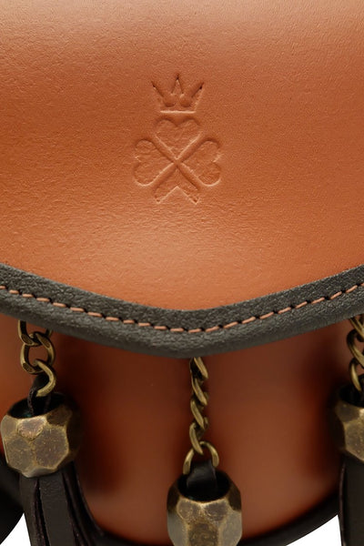 Nixey Sporran Handbag in Chestnut with Bronze Fittings logo detail