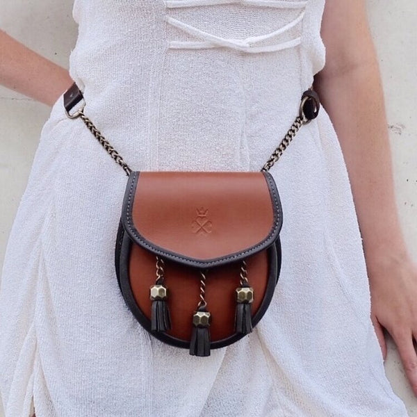 Nixey Sporran Handbag in Chestnut with Bronze Fittings On Model as Bumbag